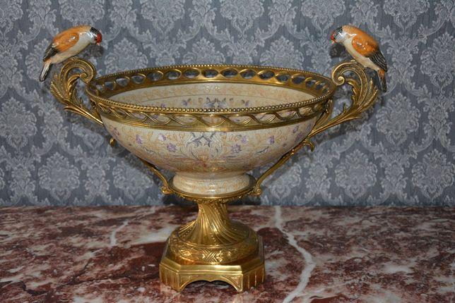 Bacia de porcelana e bronze com passaros