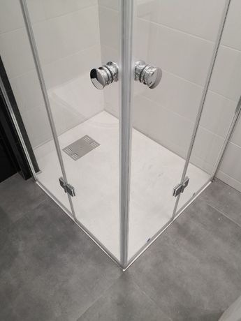 Kabina prysznicowa 80 cm x 80 cm składana narożna łamane drzwi chrom.
