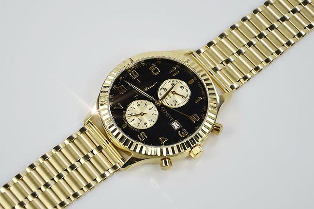Złoty zegarek męski 14k włoski Geneve mw007ydb&mwb007y B