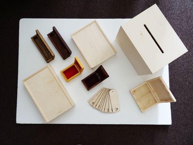 Pudełka drewniane decoupage rękodzieło dodatki napisy scrapbooking