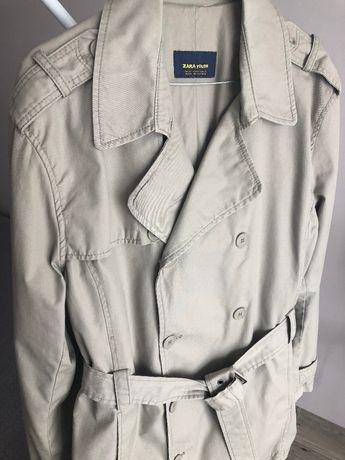 Stylowy płaszcz trencz Zara z paskiem beżowy - prosto z pralni L XL