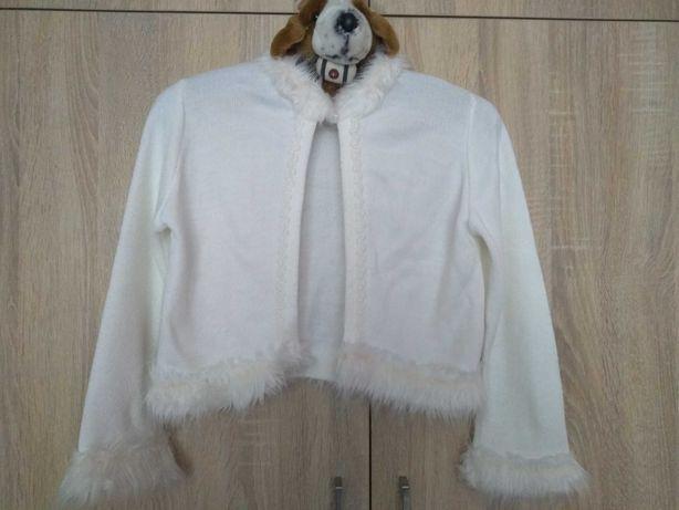 Bolerko białe sweterek komunia 134 140