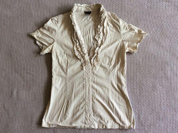 Koszula z krótkim rękawem i mini żabotem. Roz. M