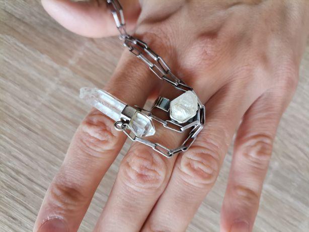 Autorski komplet srebrny pierścionek i naszyjnik kryształy górskie 925