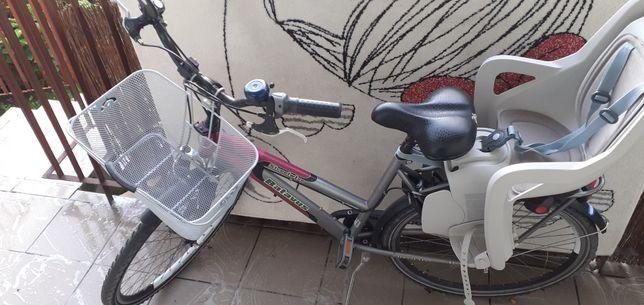 Rower damski damka 28 Fotelik rowerowy