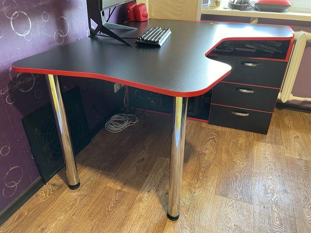 Геймерский игровой стол ZEUS TOR v3 черный/красный