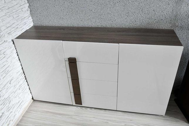 Komplet mebli komoda szafka RTV i ława dąb sonoma ciemny biały połysk