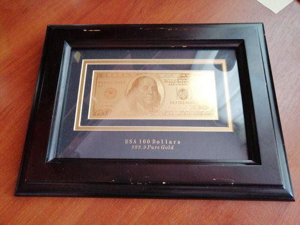 Золотая банкнота 100 долларов