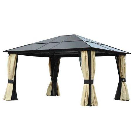 luksusowy aluminium pawilon namiot ogrodowy z daszkiem  czarny fh