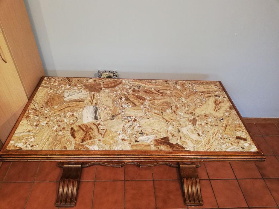 Dębowa ława z marmurowym blatem Złotów - image 1