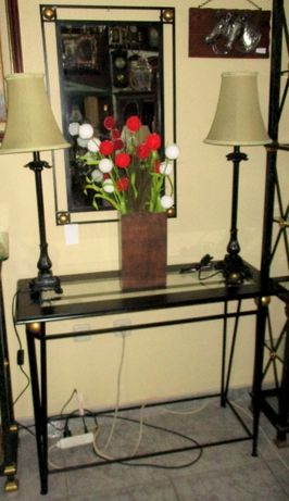 consola + espelho + candeeiros