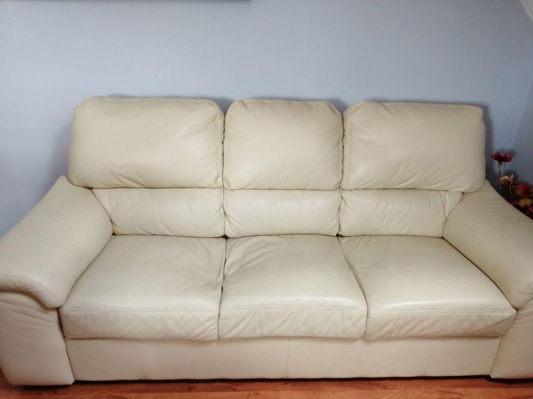Sofa z ekoskóry kolor kremowy