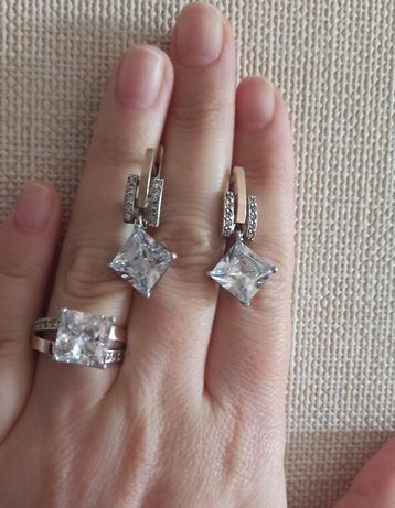 Серебряное кольцо с пластинами золота