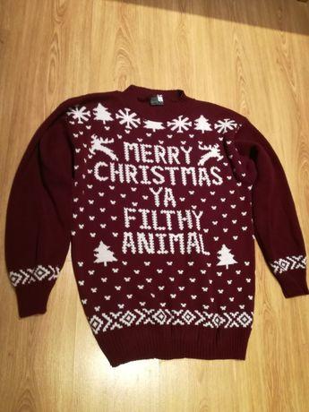 Świąteczny sweter XL 38 Kevin YA FILTHY ANIMAL xmas stan bdb SAPPHIRE