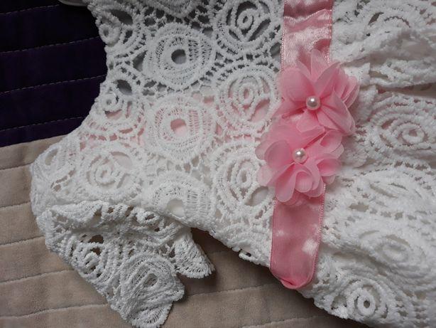 Sukienka i opaska koronkowa chrzest impreza elegancka
