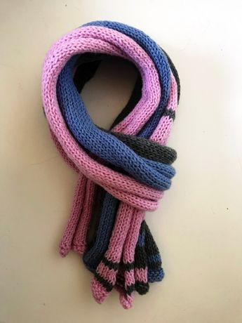 Zestaw 3 szalików robionych na drutach