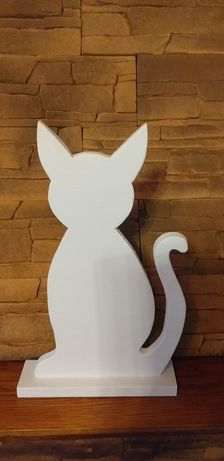 Duży drewniany kot-ozdoba- cień kota