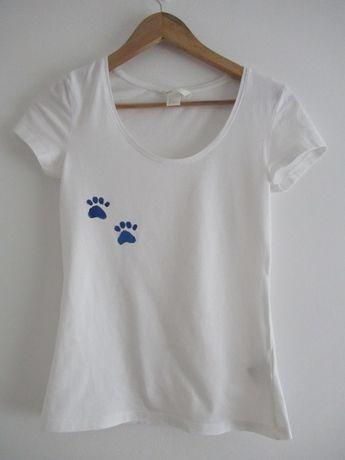Biała koszulka t-shirt bawełniany bawełna h&m r. S