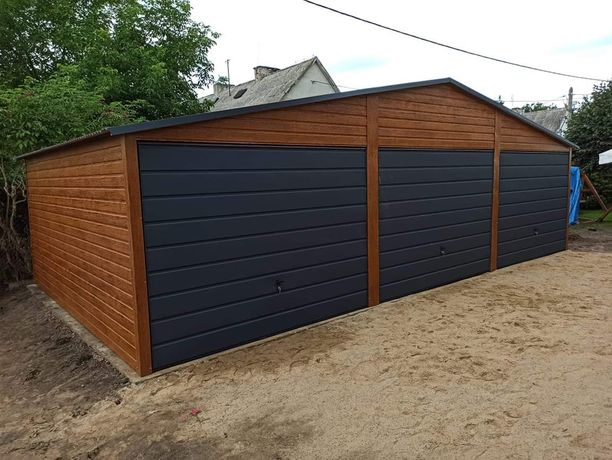 Garaż blaszany drewnopodobny  6x6 7x6 9x5 9x6 12x6 4x6 4x5 3x5 6x5.80