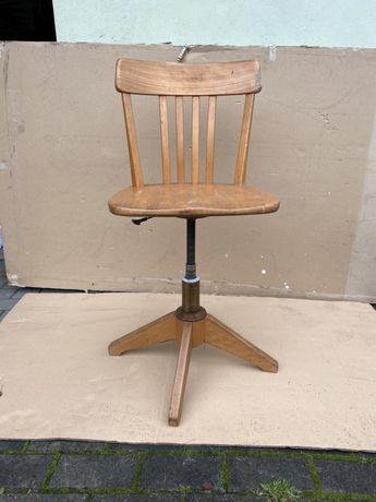 Stylowy,stary, drewniany fotel, krzesło obrotowe, Sedus, lata 50