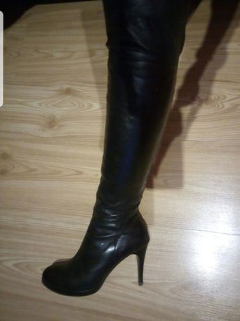 Kozaki za kolano szpilka 10 cm skóra Kazar