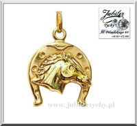 Duża złota podkowa na szczęście z głową konia złoto Au 585 głowa koń