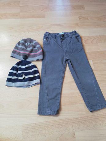 Spodnie szare eleganckie, Rebel, 92-98- gratis 2 czapeczki