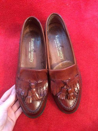 Лоферы,туфли,балетки кожаные с кисточками криперы Russell&Bromley