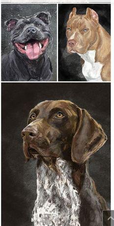 Bullterrier wyżeł pitbul staffik cane corso i inne digital painting