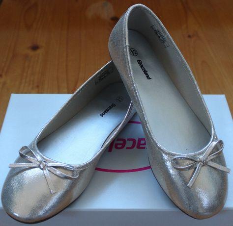 Złote połyskujące baletki NOWE 32