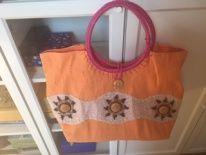 torba orange z grubego płótna