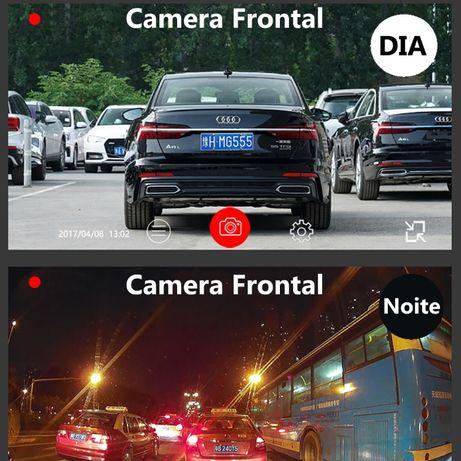camera dupla para veiculo carro dash anti vandalismo wifi HD 1440p 2k