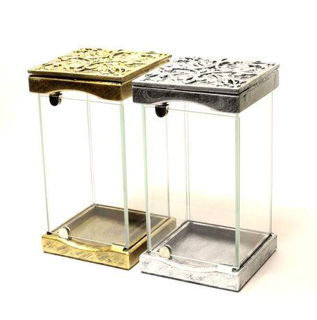 Znicz szklany art-glass złoto/srebro płaskorzeźba gothic