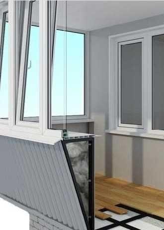 Балкон вынос, обшивка, остекление; установка м/п окон и дверей