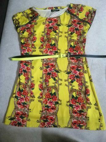 Платье жёлтого цвета с поясом