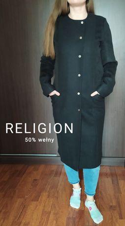 Czarny długi płaszcz damski z wełny rozm S/M z Religion