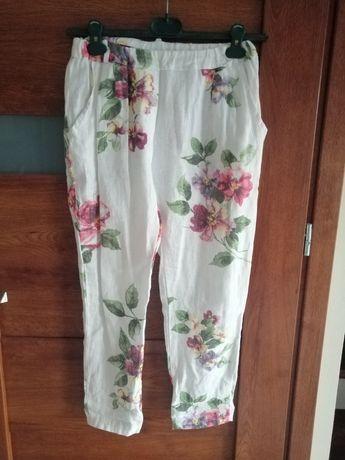 Włoskie spodnie lniane 100% len kwiaty r. S/M
