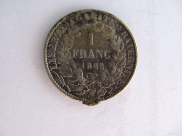 Moeda de 1 Franco Francês 1888 com defeito de cunhagem