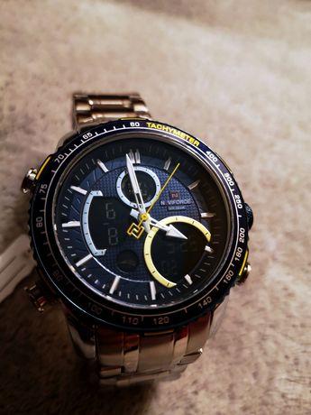 Nowy męski zegarek naviforce srebrny na bransolecie LED elegancki