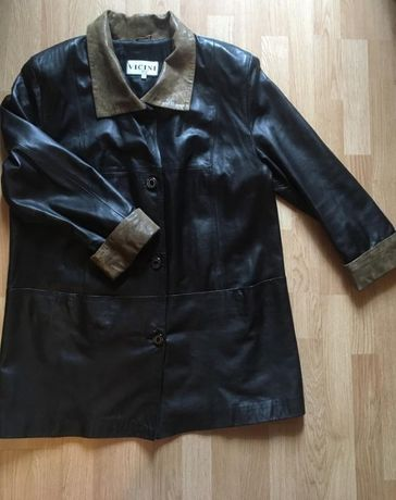Шикарное кожаное женское пальто Vicini, размер 50-52