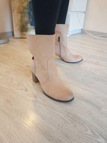 Botki Zapato, skóra naturalna, kolor beżowy, rozmiar 39