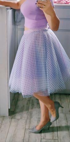 Sukienka dwuczęściowa liliowa lila w kropeczki spódnica tiulowa i t-sh