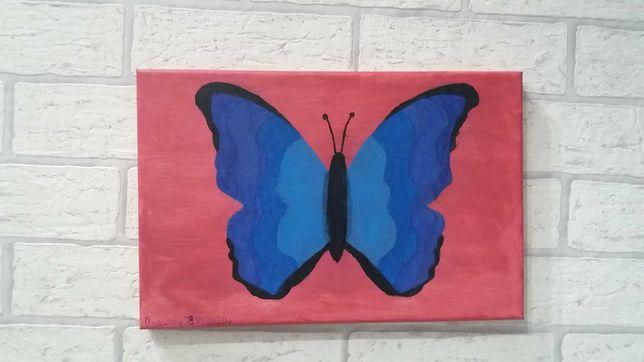 Motyl.Obraz recznie malowany acryl.