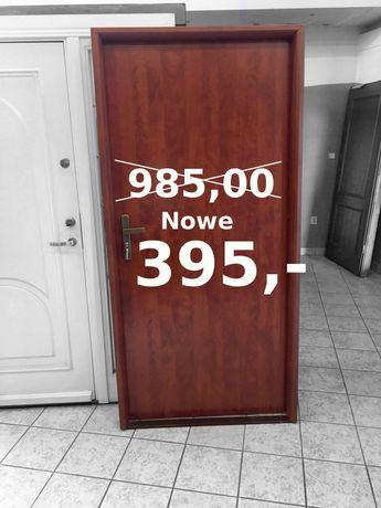Drzwi wejściowe z ościeżnicą ciemny calvados 5 kluczy 90 lewe