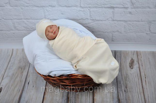 Пеленка-кокон европеленка на липучках с шапочкой