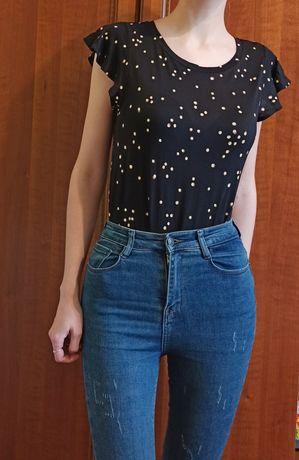 Женская футболка H&M XS-S 34-36 черная блузка НМ топ ХС принт вискоза