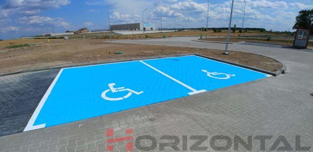 Malowanie miejsc dla niepełnosprawnych, rodzin z dziećmi, kopert