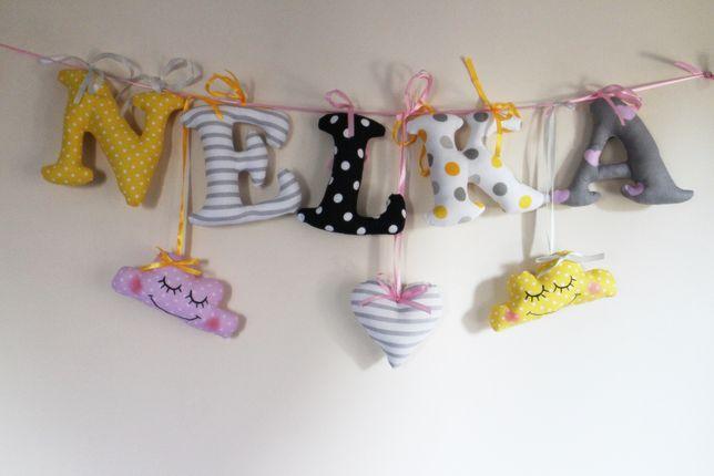 LIterki szyte bawelniane z wszytymi wstążeczkami imię dziecka 15 cm
