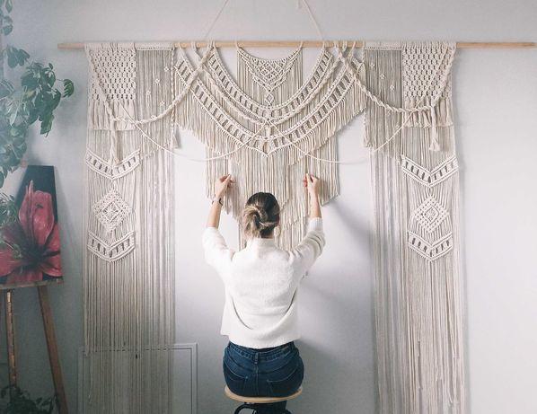 Makrama ścianka ślubna