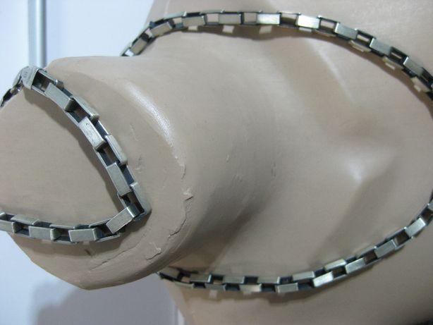 Łańcuch Bransoleta srebro antracyt zestaw - splot kostka moto design